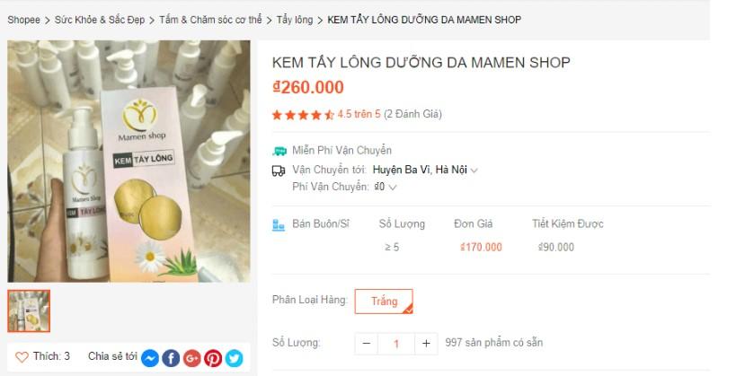 kem tẩy lông mamen shop có tốt không, kem tẩy lông mamen shop giá bao nhiêu, kem tẩy lông mamen shop review